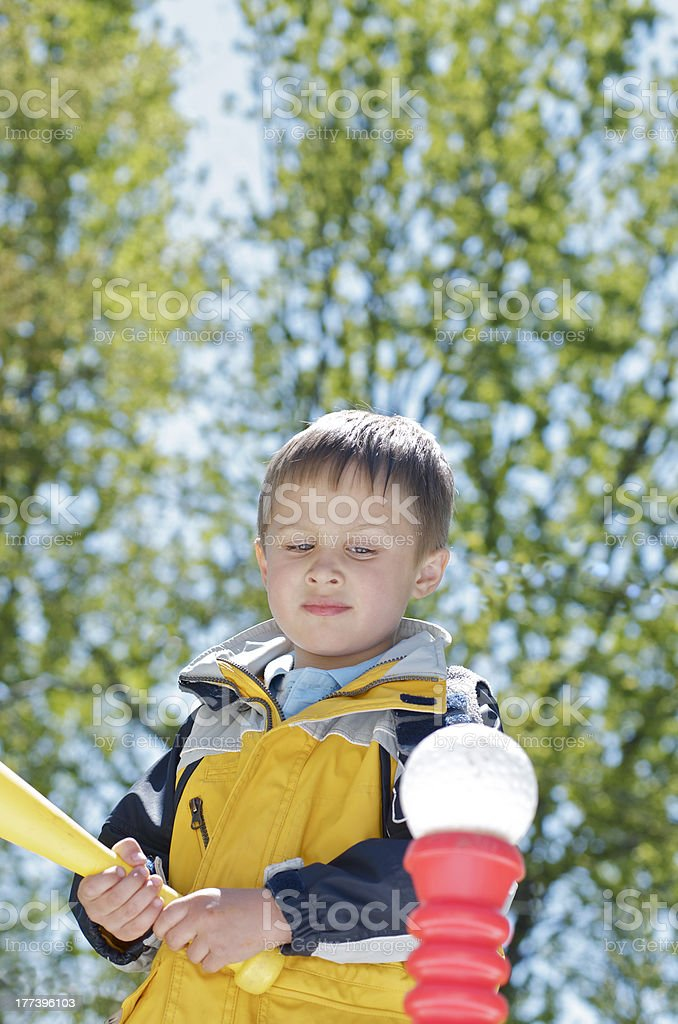 Boy and T-Ball stock photo