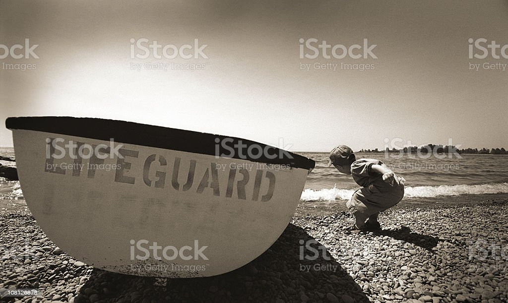boy and the boat royalty-free stock photo