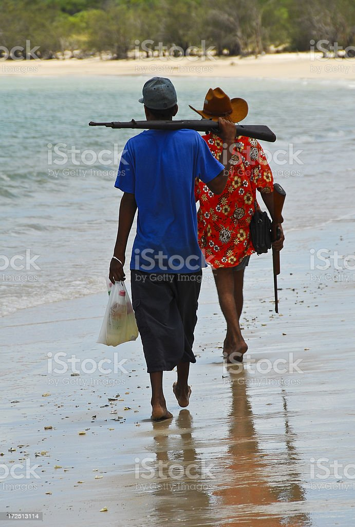 Boy and Uncle going Hunting stock photo
