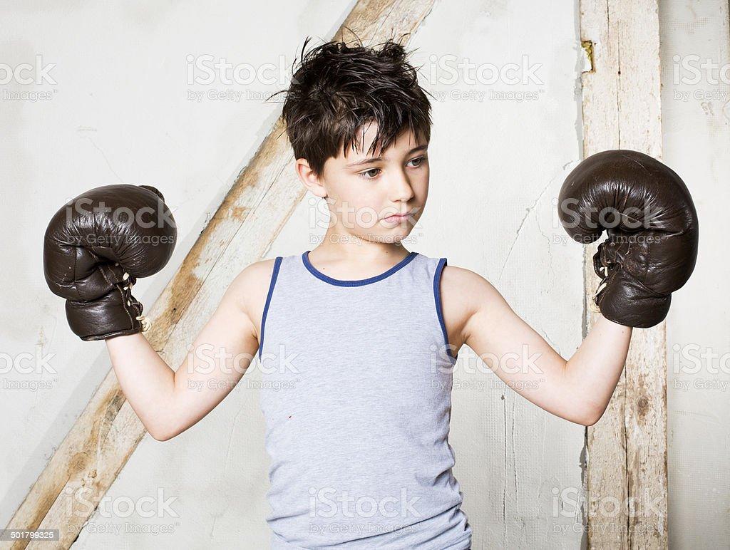 boy as a boxer stock photo