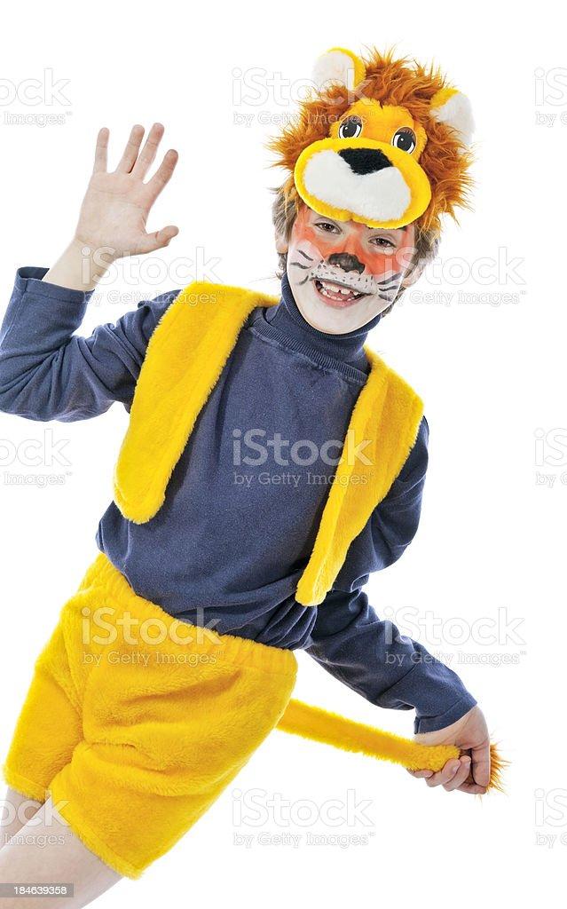 Boy as a lion stock photo