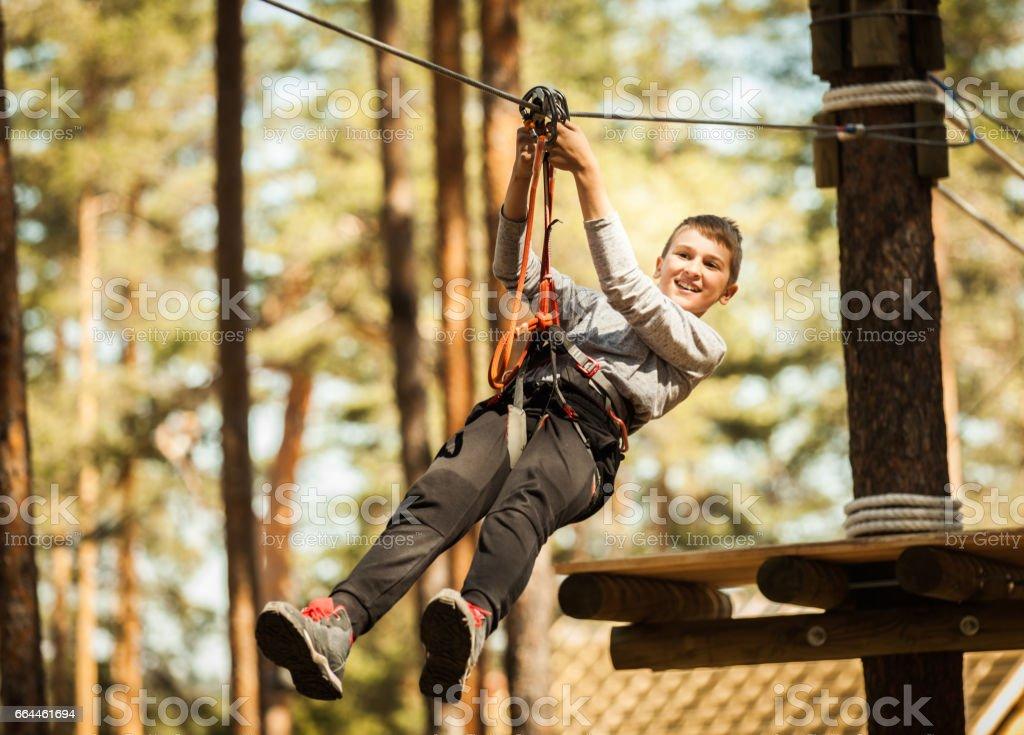 Boy at Adrenaline Park stock photo