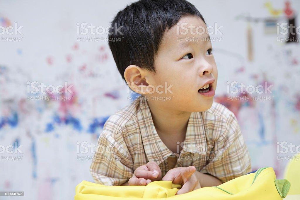 boy at classroom stock photo