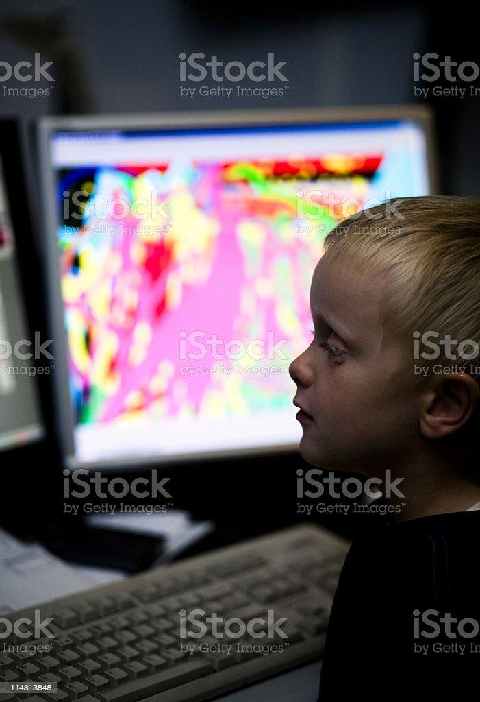 Boy at computer royalty-free stock photo