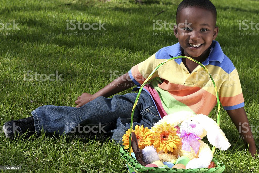 boy at easter stock photo