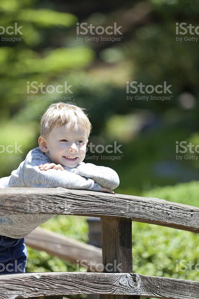 boy at the bridge royalty-free stock photo