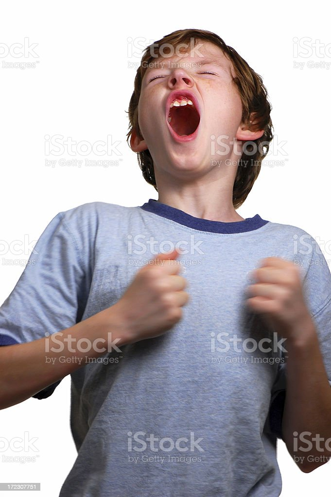 Boy Beating his Chest and Screaming royalty-free stock photo