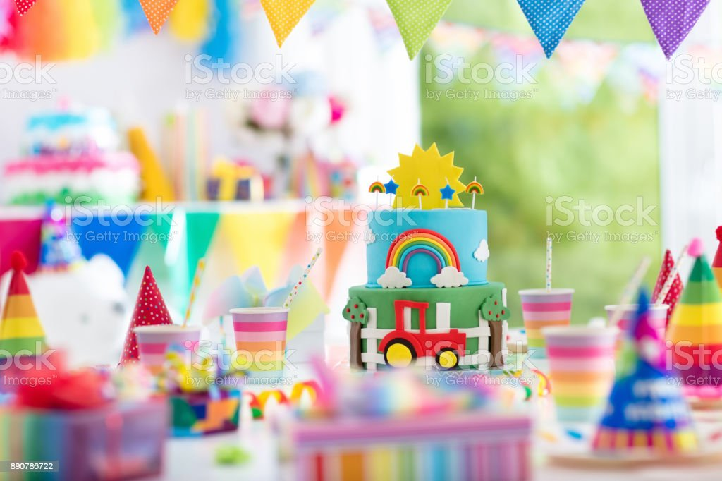 Boy Birthday Cake For Little Child Kids Party Stock Photo More
