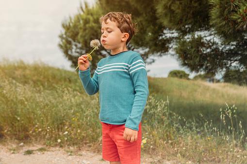 Boy blowing a dandelion