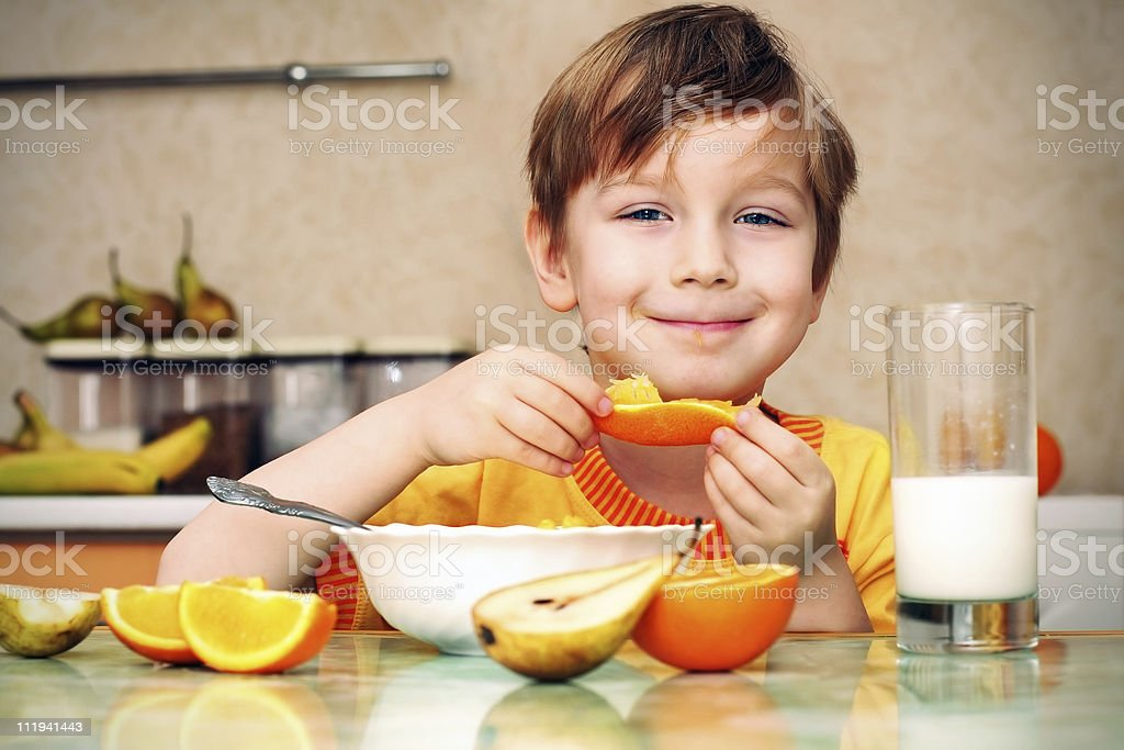 boy breakfast stock photo