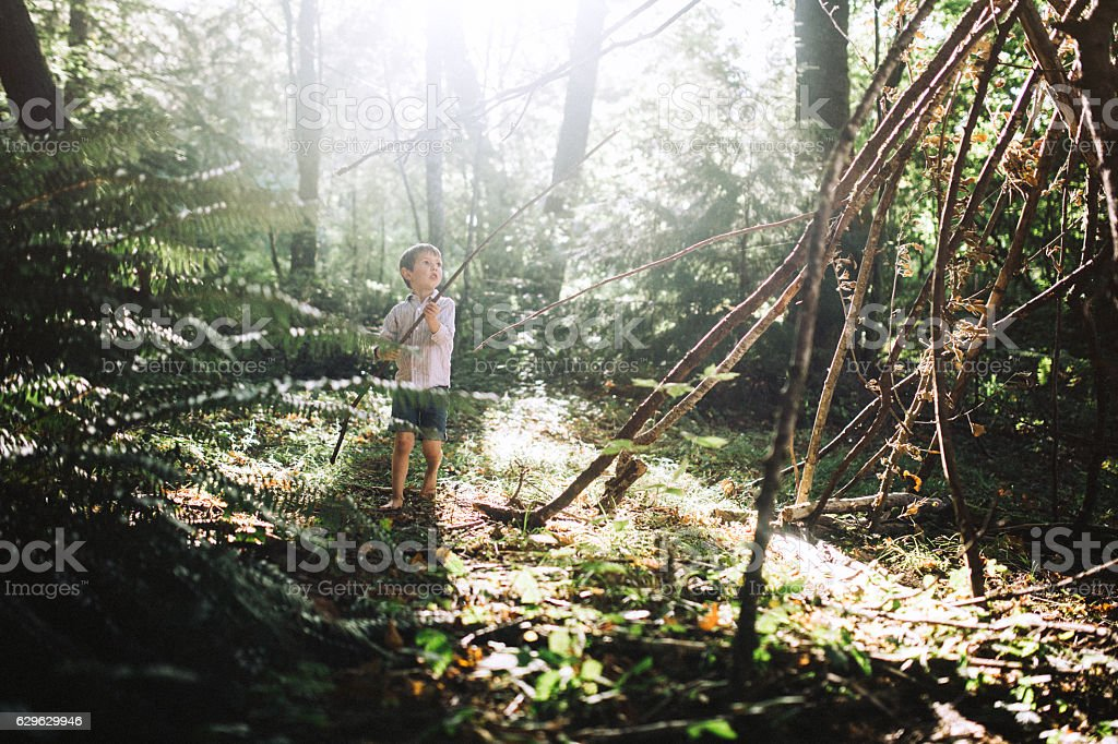 Boy Building Forest Fort stock photo