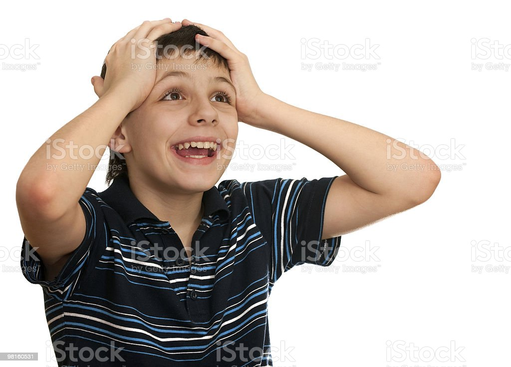 Boy can't believe his lottery winning royalty-free stock photo