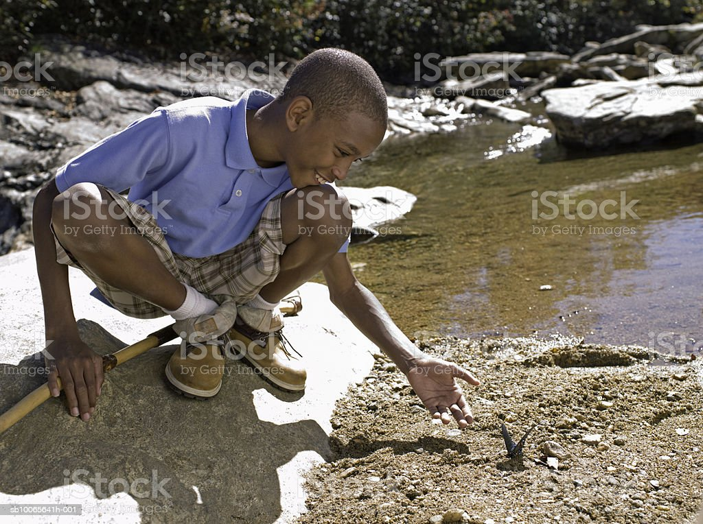 Boy (12-13) catching butterfly by stream, smiling royalty-free 스톡 사진