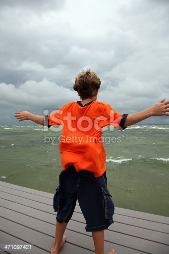istock Boy caught in powerful big storm and blowing wind 471097421