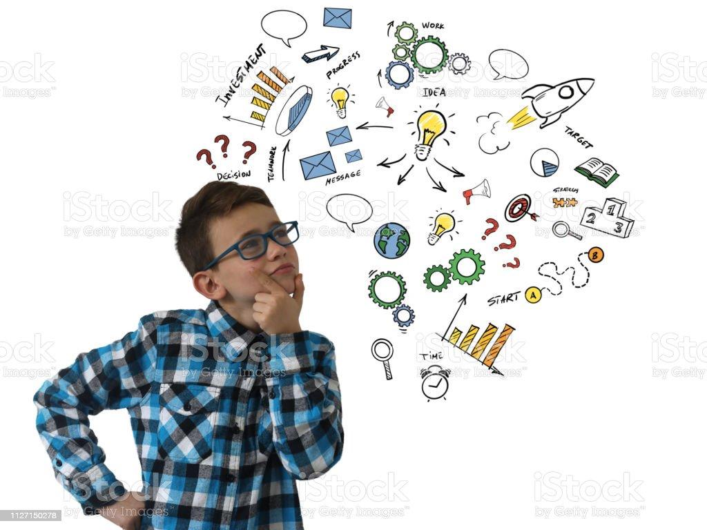 Boy child creative bright idea innovation business startup message communication stock photo