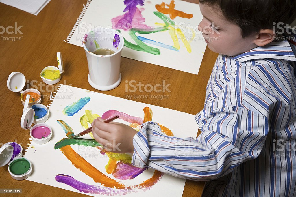 Boy Child Painting at Table royalty-free stock photo