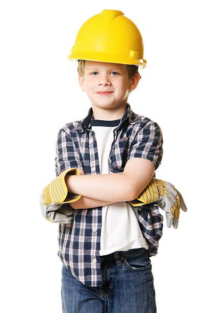 Boy Child Wearing Construction Hard Hat Costume stock photo