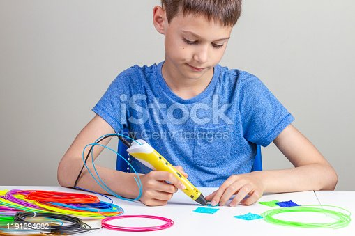 899701486 istock photo Boy creating with 3d pen new object 1191894682