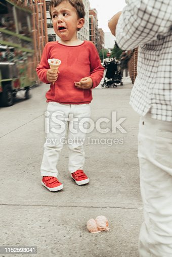 Boy crying because his Ice cream fell on the floor