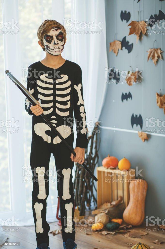 Boy disguised as skeleton royalty-free stock photo
