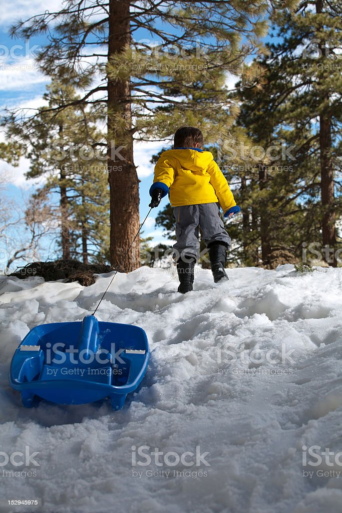 Boy dragging sled stock photo