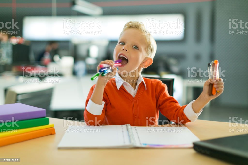 Boy draw in the office royalty-free stock photo