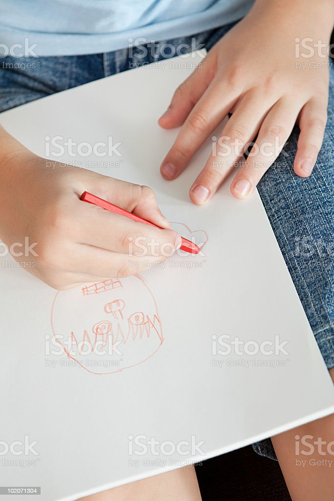 Boy drawing a picture royalty-free stock photo