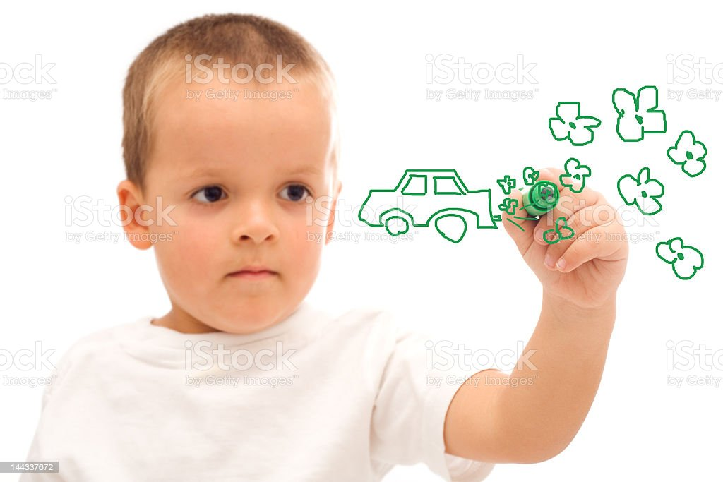 Boy drawing royalty-free stock photo