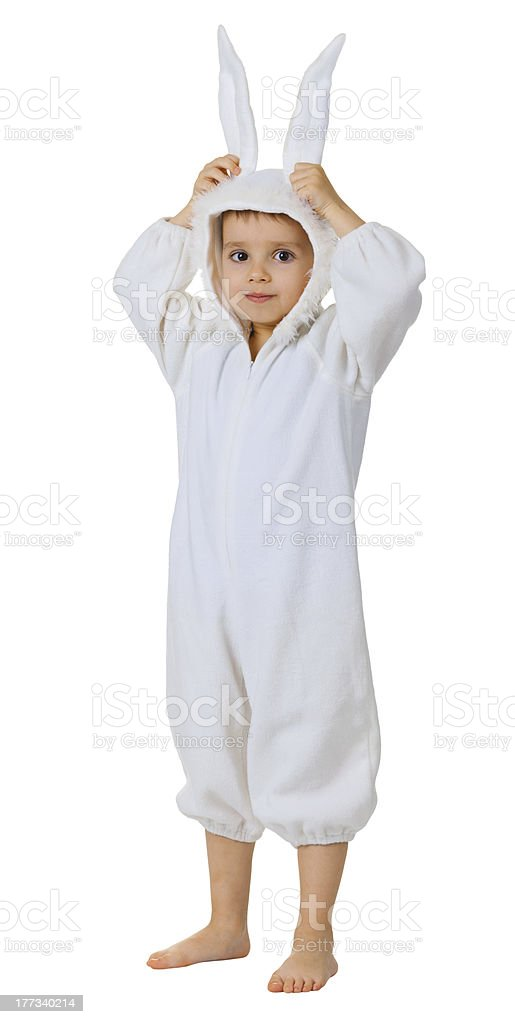 Boy dressed as a rabbit standing stock photo