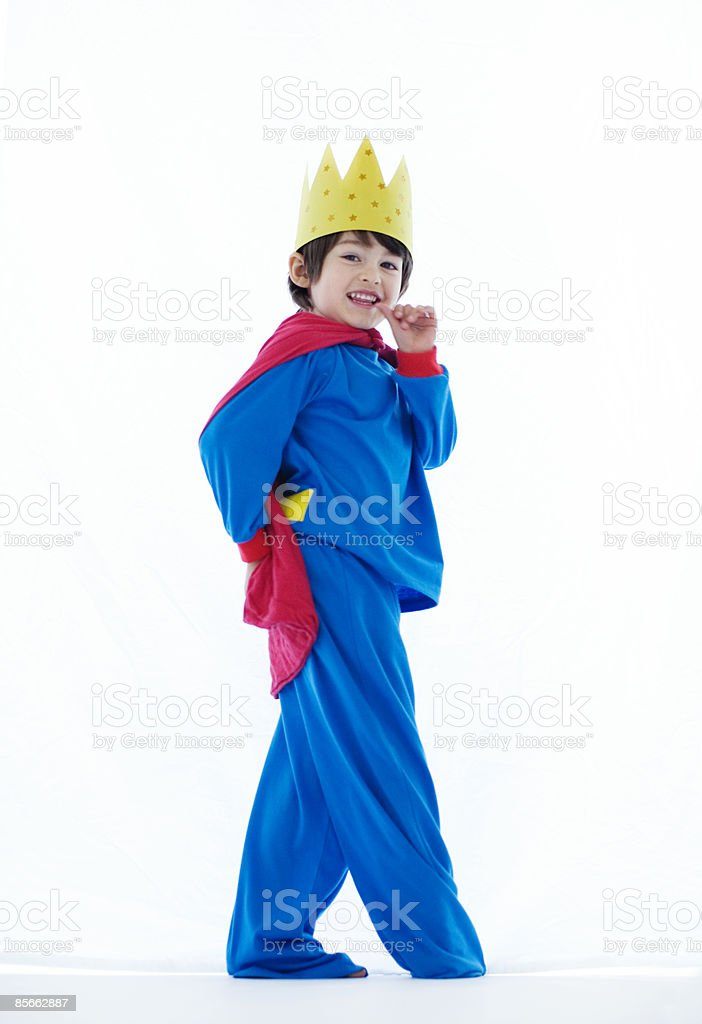 Boy dressed up as king royalty-free stock photo