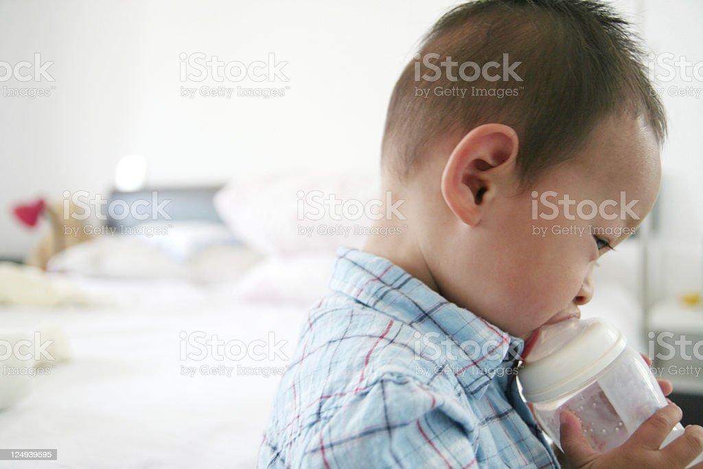 boy drinking milk stock photo