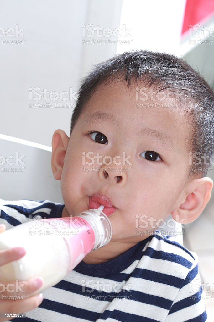 boy drinking milk royalty-free stock photo