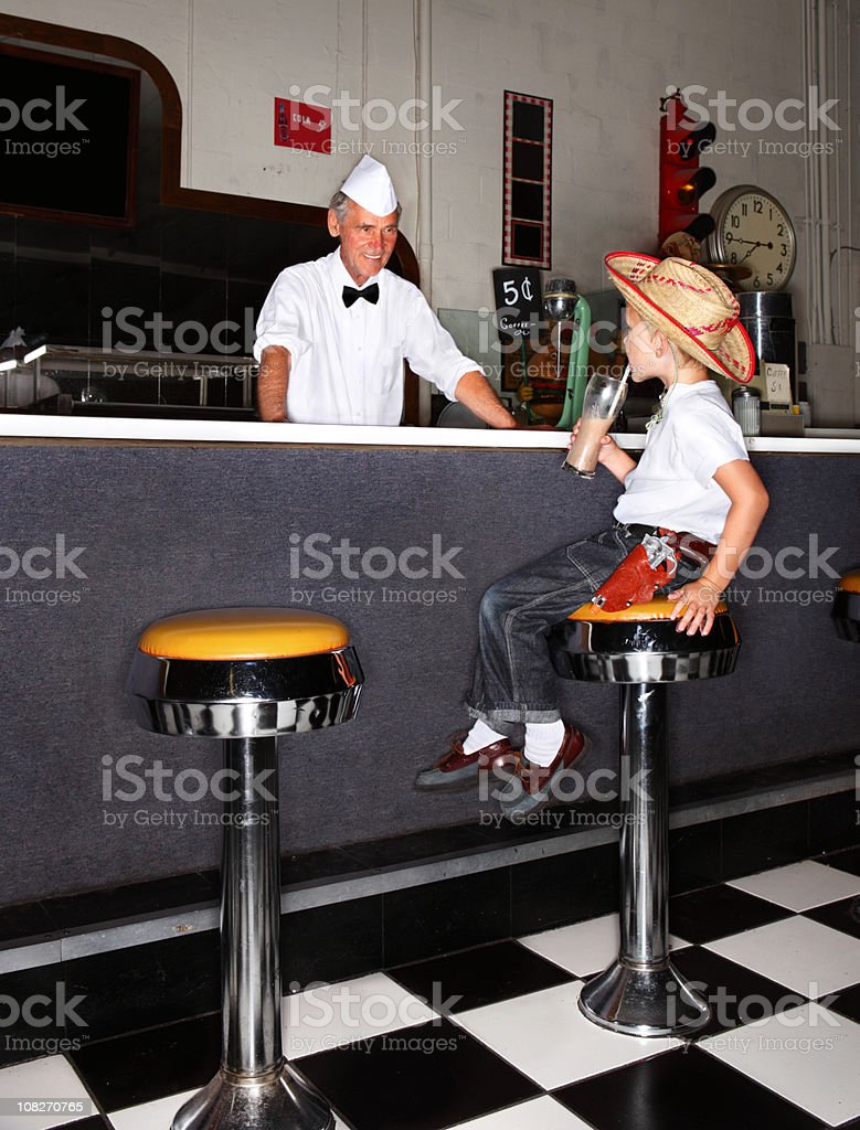 Boy Drinking Milkshake stock photo