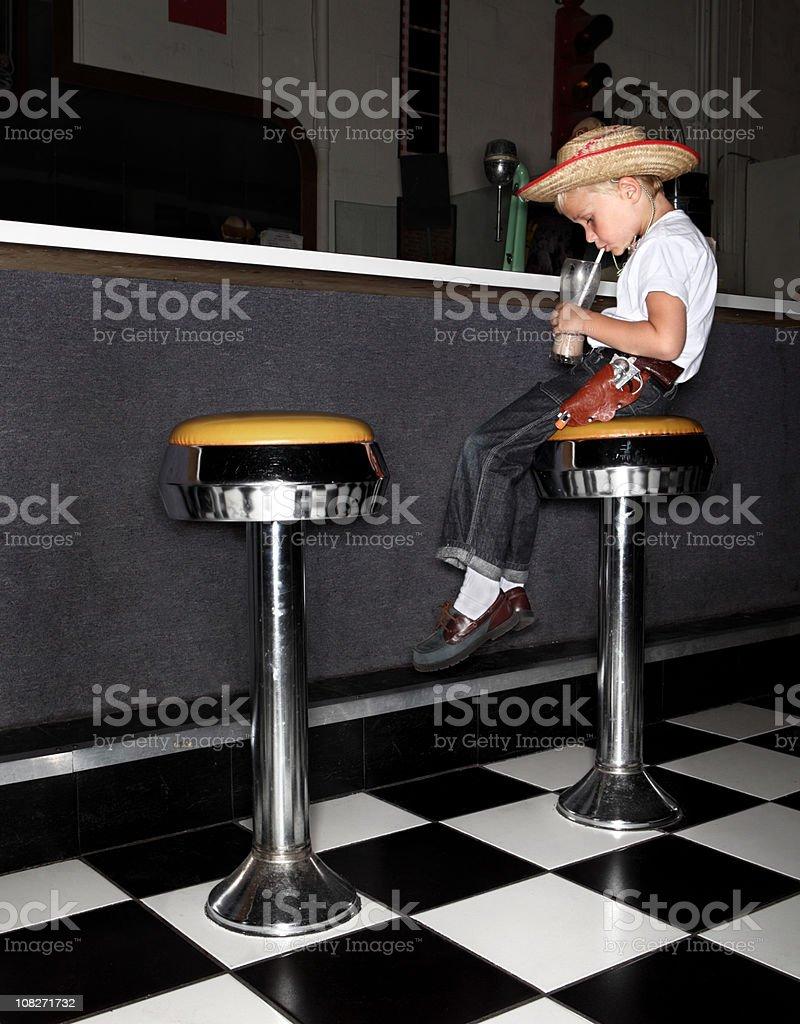 Boy Drinking Milkshake stock photo