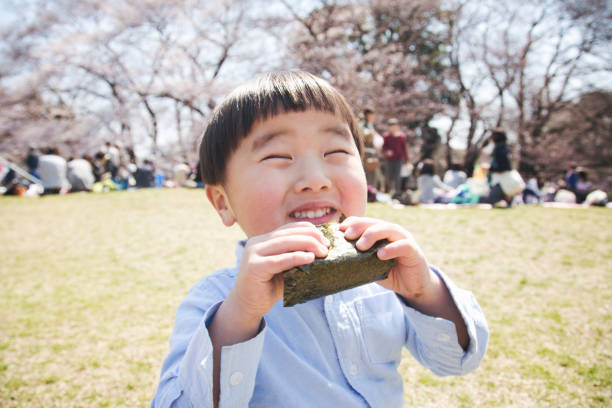 Boy eating a rice bowl in the park stock photo