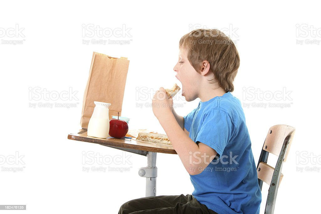 boy eating a sandwich for lunch royalty-free stock photo