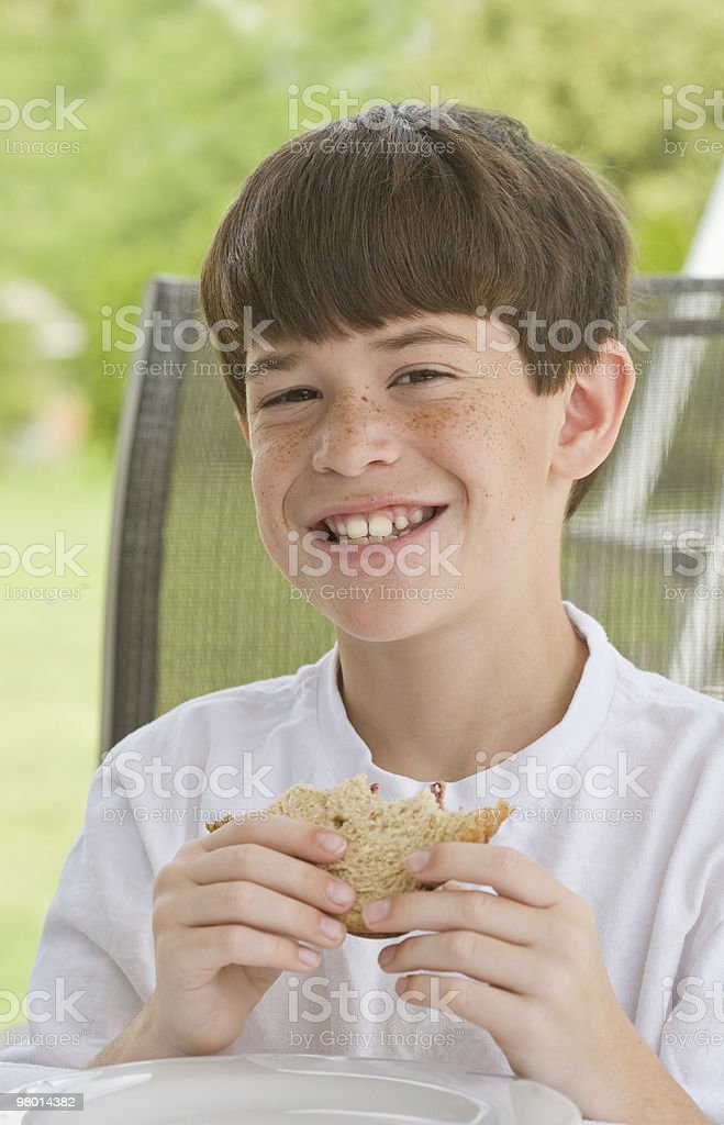Boy Eating a Sandwich royalty-free stock photo