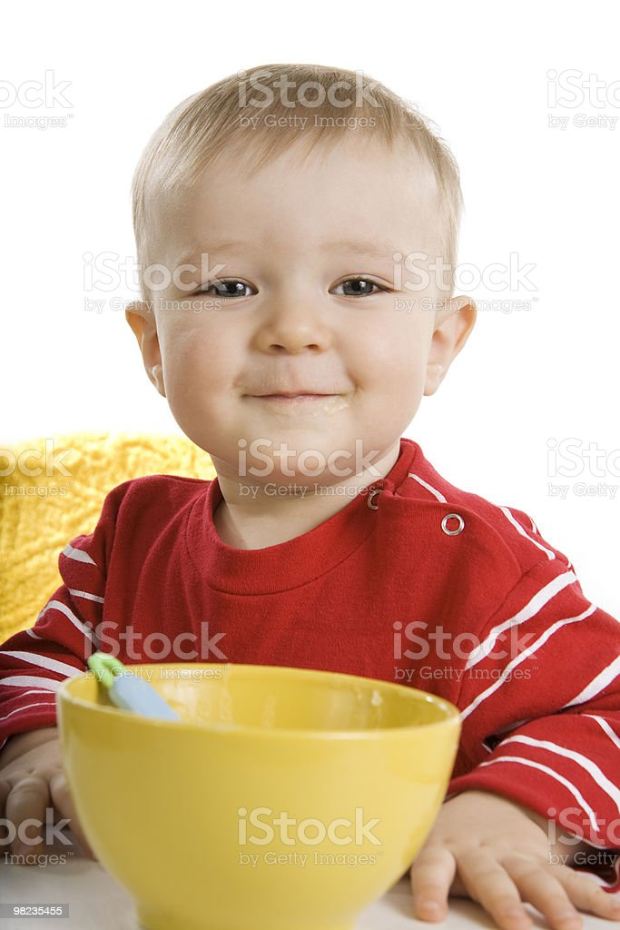Boy eating breakfast royalty-free stock photo