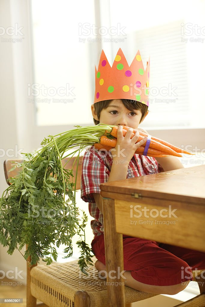 Boy eating bunch of carrots royalty-free stock photo