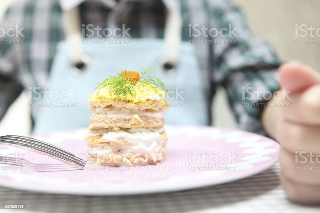 Boy eating canape salad royalty-free stock photo