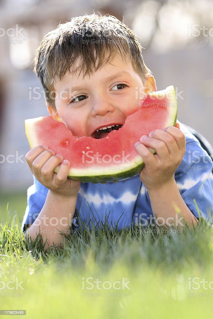 Boy Eating Watermelon royalty-free stock photo