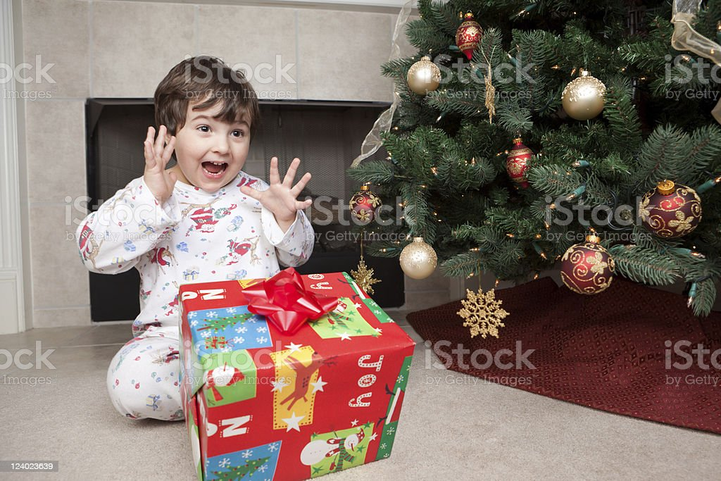 Boy excited about Christmas present royalty-free stock photo