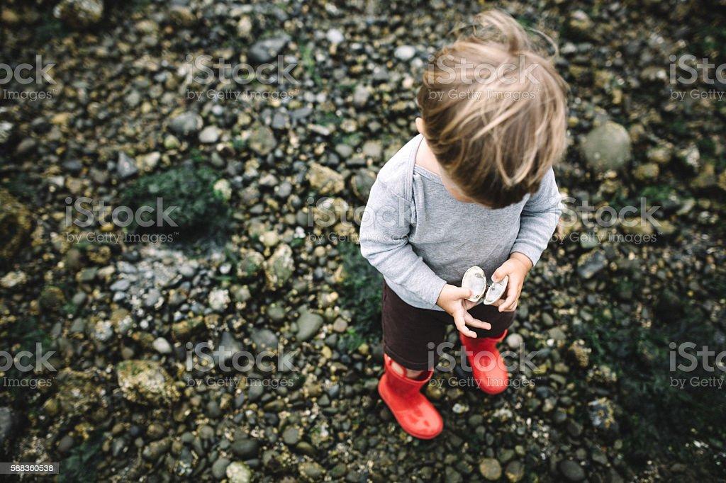 Boy Exploring Rocky Beach stock photo