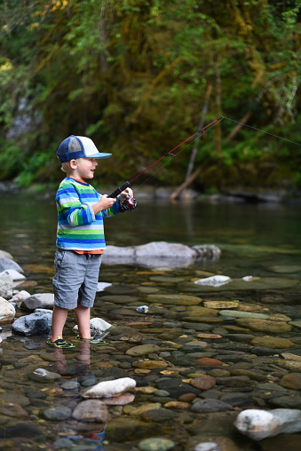 A young boy wading in shallow water fishing in stream. South Santiam River, Willamette National Forest, Oregon.