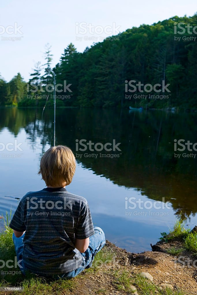 boy fishing royalty-free stock photo