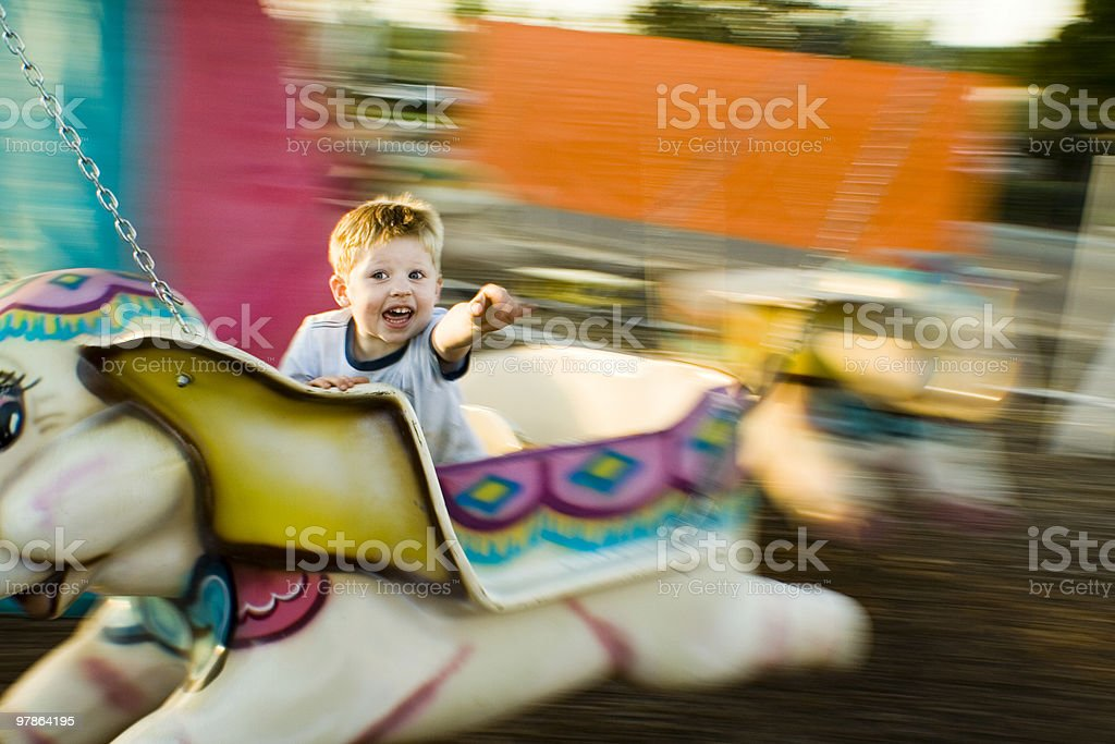 boy flys elephant royalty-free stock photo