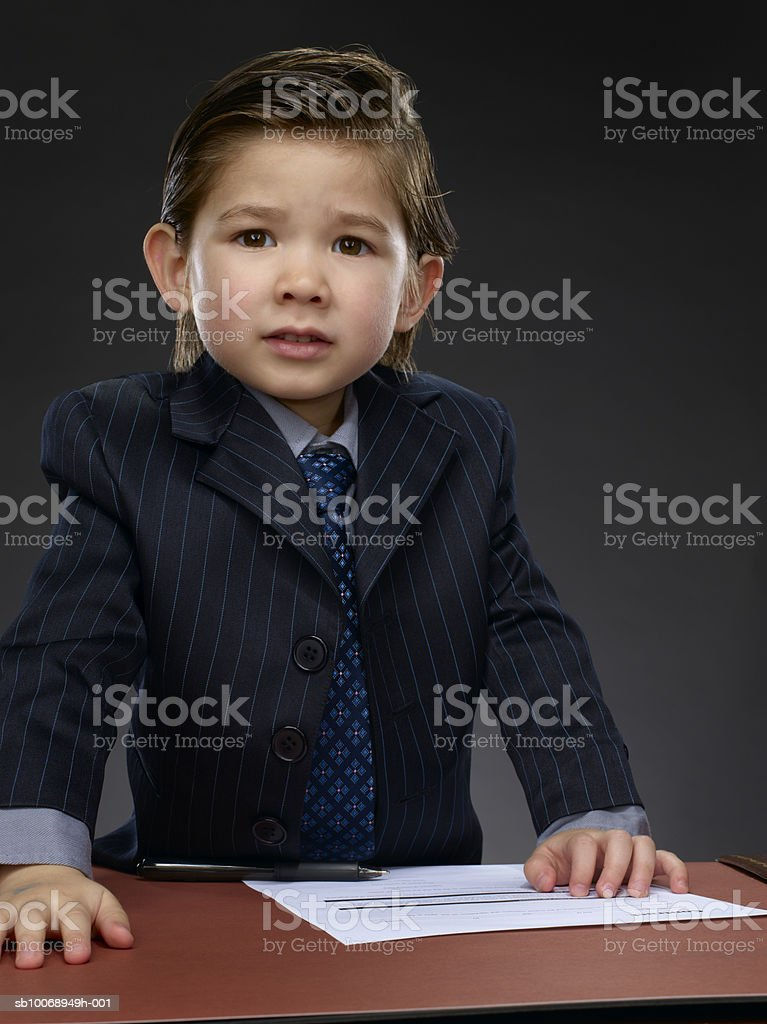 Boy (2-3) frowning, portrait royalty-free stock photo