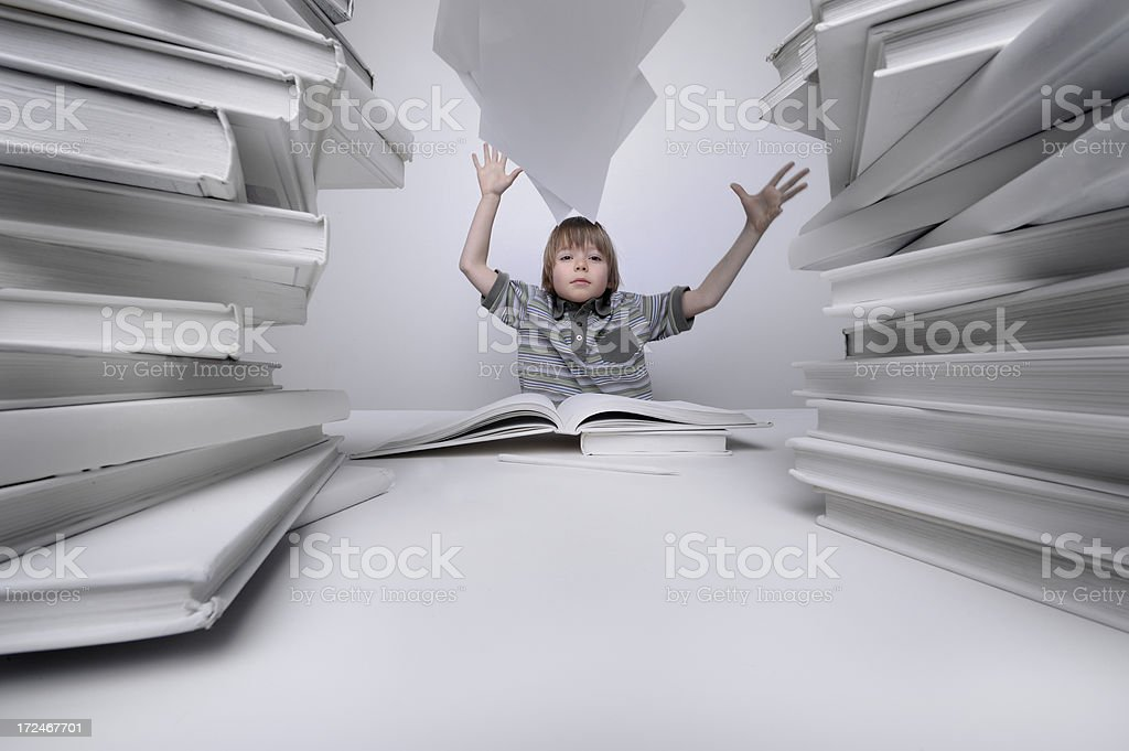Boy frustrated with homework. royalty-free stock photo
