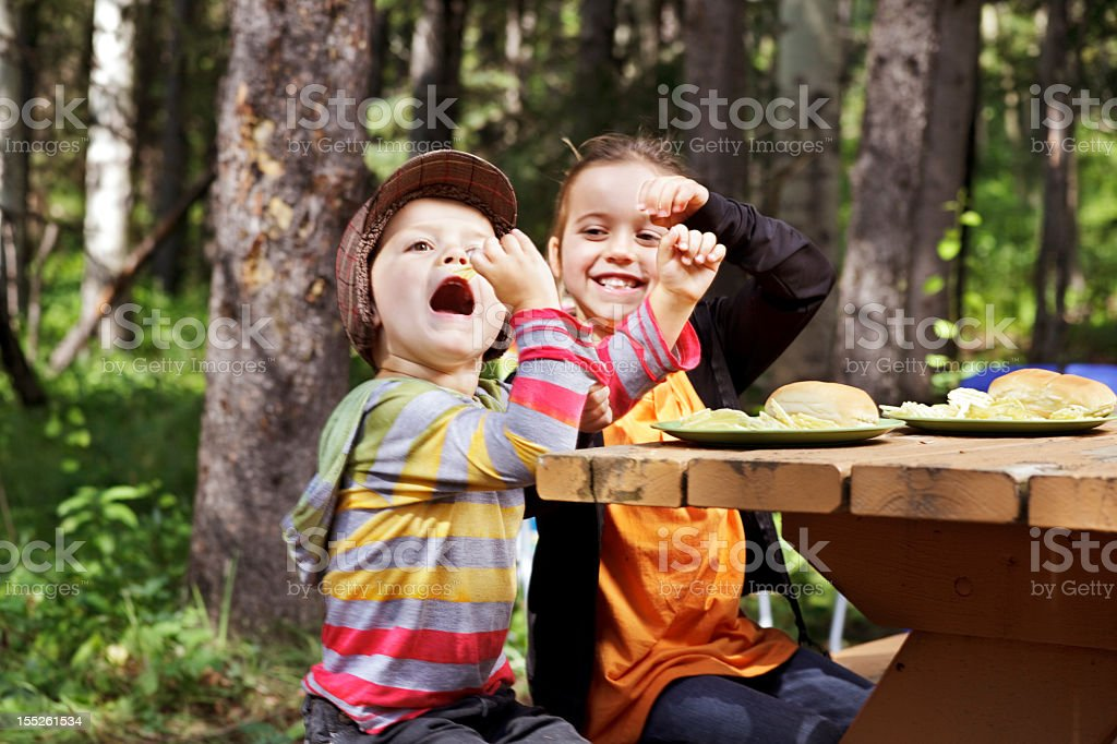 Boy gets the chip stock photo