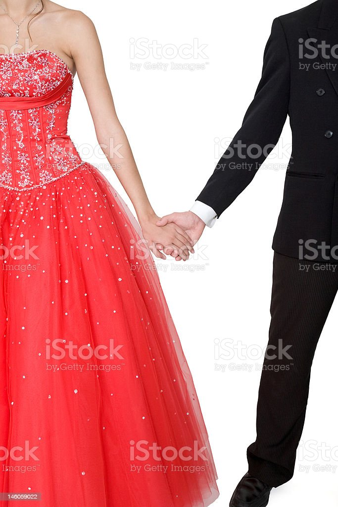 Boy & Girl Formal Boy & girl, in formal attire, holding hands against a white background. Adult Stock Photo